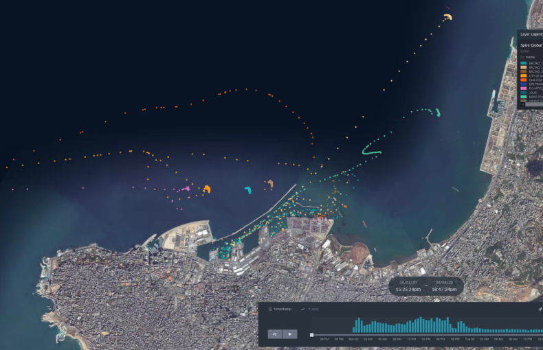 Ships in Beirut port area Aug 4th - AIS data